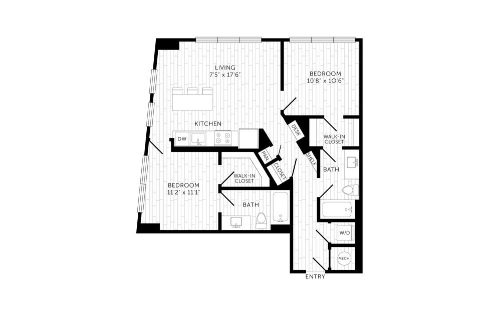 C07a 2 Bed 2 Bath Floorplan